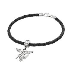 LogoArt Sterling Silver & Leather 'RN' Caduceus Nurse Charm Bracelet