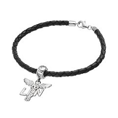 LogoArt Sterling Silver & Leather 'LPN' Caduceus Nurse Charm Bracelet