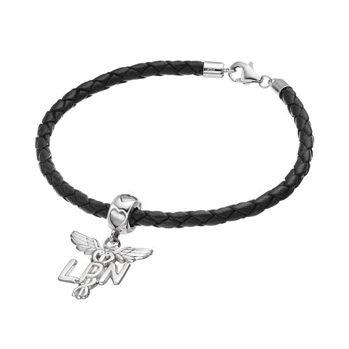 "LogoArt Sterling Silver & Leather ""LPN"" Caduceus Nurse Charm Bracelet"