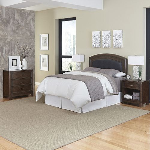 Home Styles Crescent Hill 4-piece Leather Upholstered Headboard, Two Nightstands, and Drawer Set