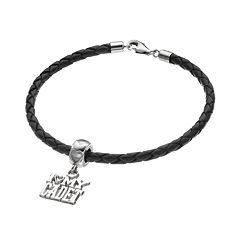 LogoArt Sterling Silver & Leather 'I Love My Cadet' Charm Bracelet