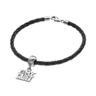 "LogoArt Sterling Silver & Leather ""I Love My Cadet"" Charm Bracelet"