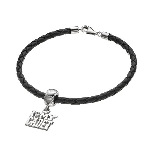 "LogoArt Sterling Silver & Leather ""I Love My Cadet"" Charm Bracelet"