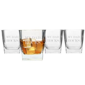 "Cathy's Concepts ""My Dad Rocks"" 4-pc. Lowball Glass Set"