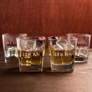 """Cathy's Concepts """"My Dad Rocks"""" 4-pc. Lowball Glass Set"""