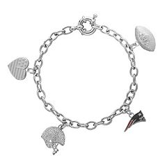 New England Patriots Team Logo, Heart, Football & Helmet Charm Bracelet