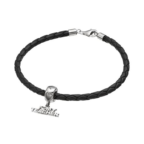 "LogoArt Sterling Silver & Leather ""I Love My Teacher"" Charm Bracelet"