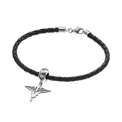 LogoArt Sterling Silver & Leather 'V' Caduceus Veterinarian Charm Bracelet