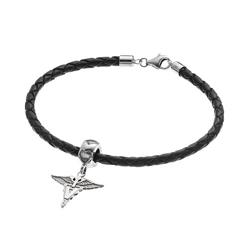 "LogoArt Sterling Silver & Leather ""V"" Caduceus Veterinarian Charm Bracelet"