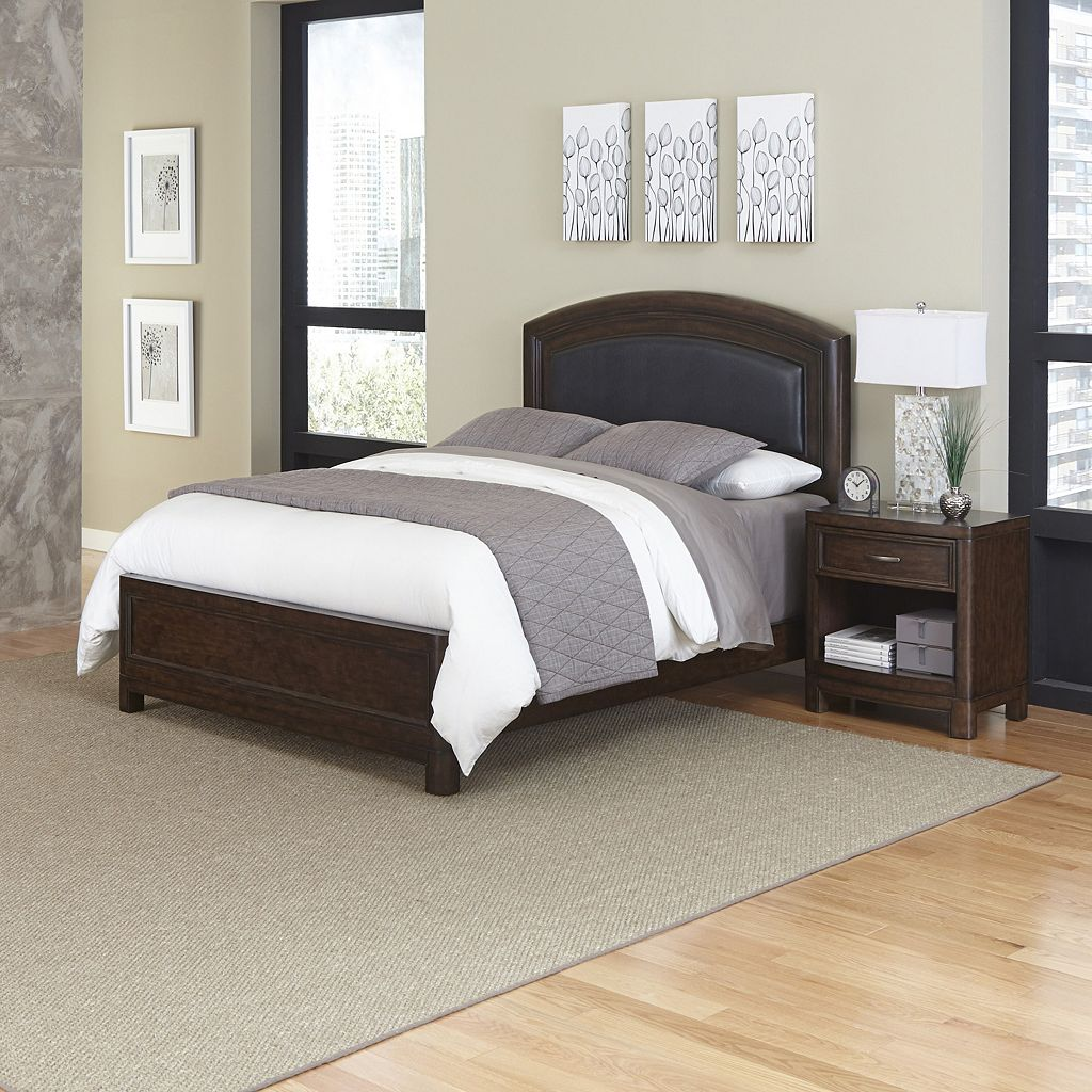 Home Styles Crescent Hill 2-piece Leather Upholstered Bed and Nightstand Set