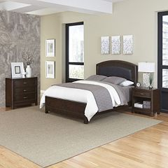 Home Styles Crescent Hill 3 pc Leather Upholstered Bed, Nightstand, and Drawer Set
