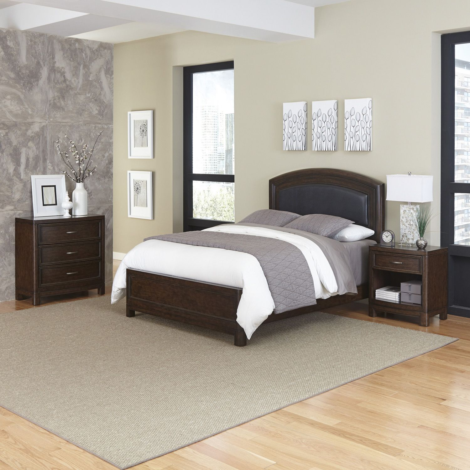 Fancy Home Styles Crescent Hill piece Leather Upholstered Bed Nightstand and Drawer Set