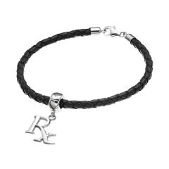 LogoArt Sterling Silver & Leather 'Rx' Pharmacist Charm Bracelet