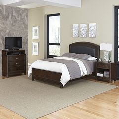 Home Styles Crescent Hill 3 pc Leather Upholstered Bed, Nightstand, and Media Drawer Set