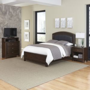 Home Styles Crescent Hill 3-piece Leather Upholstered Bed, Nightstand, and Media Drawer Set