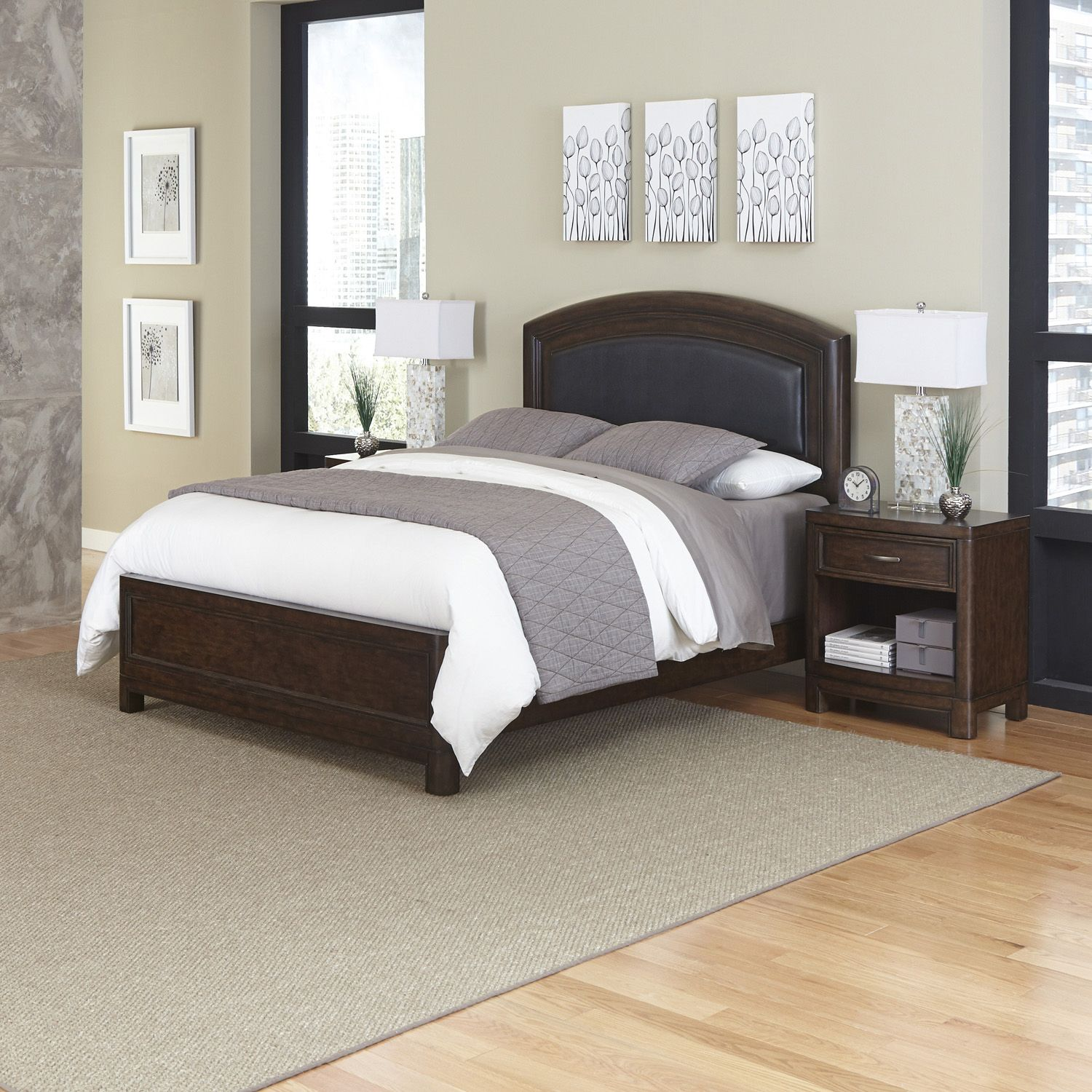 Superb Home Styles Crescent Hill piece Leather Upholstered Bed and Two Nightstands Set