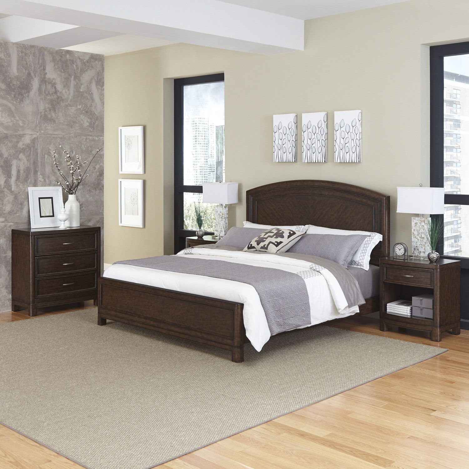 New Home Styles Crescent Hill piece Bed Two Nightstands and Drawer Set