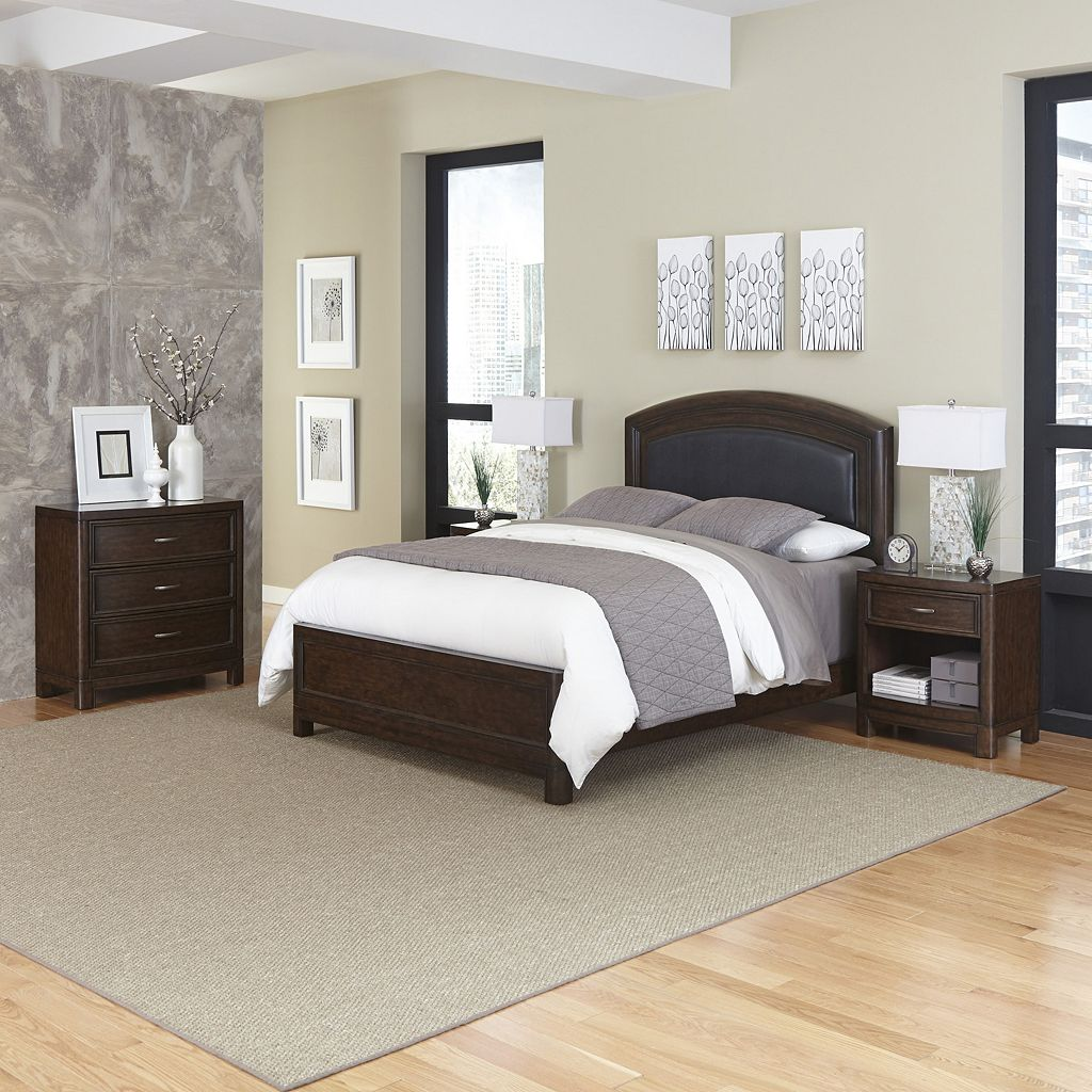 Home Styles Crescent Hill 4-piece Leather Upholstered Bed, Two Nightstands, and Drawer Set