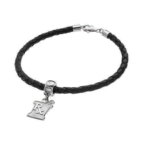 "LogoArt Sterling Silver & Leather ""Rx"" Mortar & Pestle Pharmacist Charm Bracelet"