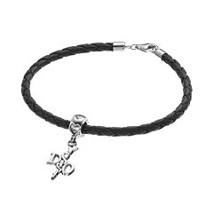 LogoArt Sterling Silver & Leather 'DO' Caduceus Doctor Charm Bracelet