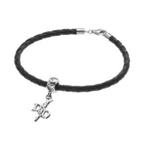 "LogoArt Sterling Silver & Leather ""DO"" Caduceus Doctor Charm Bracelet"