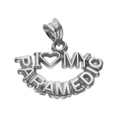 LogoArt Sterling Silver 'I Love My Paramedic' Pendant