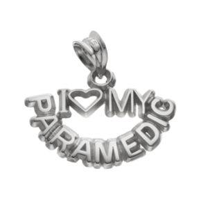 "LogoArt Sterling Silver ""I Love My Paramedic"" Pendant"