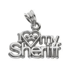LogoArt Sterling Silver 'I Love My Sheriff' Pendant