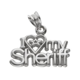 "LogoArt Sterling Silver ""I Love My Sheriff"" Pendant"