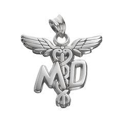 LogoArt Sterling Silver 'MD' Caduceus Doctor Pendant