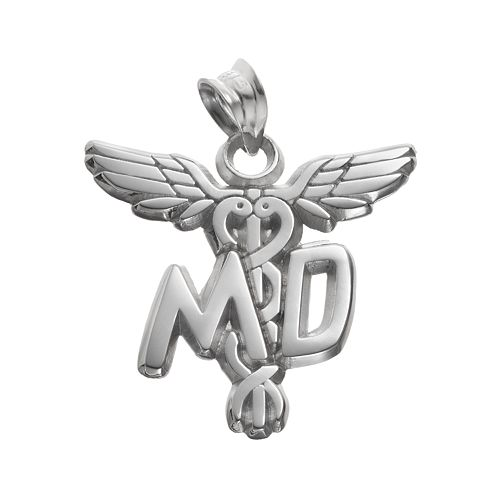 "LogoArt Sterling Silver ""MD"" Caduceus Doctor Pendant"