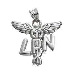 LogoArt Sterling Silver 'LPN' Caduceus Nurse Pendant