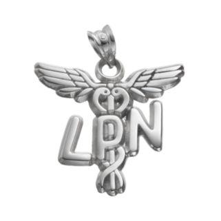 "LogoArt Sterling Silver ""LPN"" Caduceus Nurse Pendant"