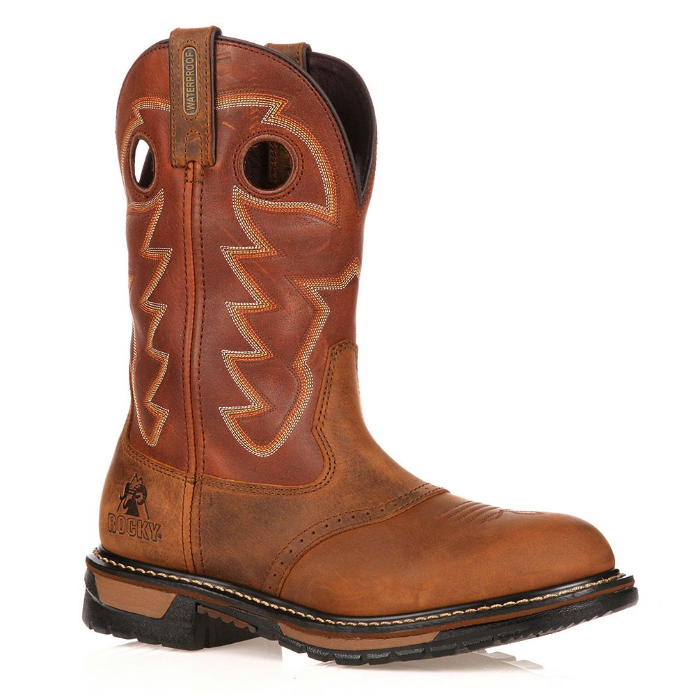 Rocky Original Ride Branson Roper Men's 11-in. Waterproof Western Work Boots