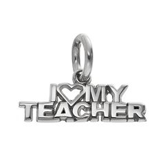 LogoArt Sterling Silver 'I Love My Teacher' Pendant