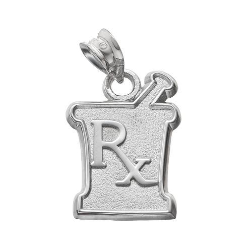 "LogoArt Sterling Silver ""Rx"" Mortar & Pestle Pharmacist Pendant"