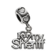LogoArt Sterling Silver 'I Love My Sheriff' Charm
