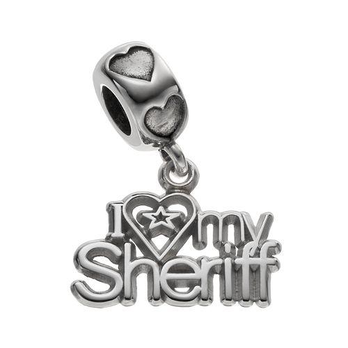"LogoArt Sterling Silver ""I Love My Sheriff"" Charm"