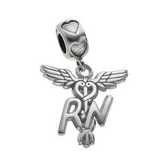 LogoArt Sterling Silver 'RN' Caduceus Nurse Charm