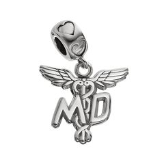 LogoArt Sterling Silver 'MD' Caduceus Doctor Charm