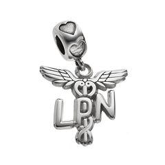 LogoArt Sterling Silver 'LPN' Caduceus Nurse Charm