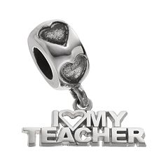 LogoArt Sterling Silver 'I Love My Teacher' Charm