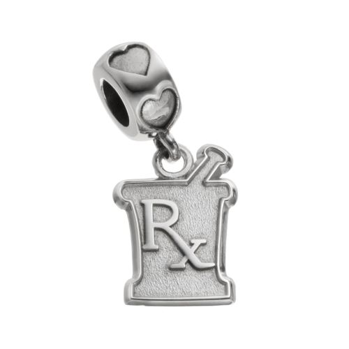 "LogoArt Sterling Silver ""Rx"" Mortar & Pestle Pharmacist Charm"