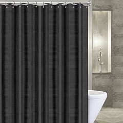 Popular Bath Waffle Stripe Fabric Shower Curtain Black Ivory Mocha White
