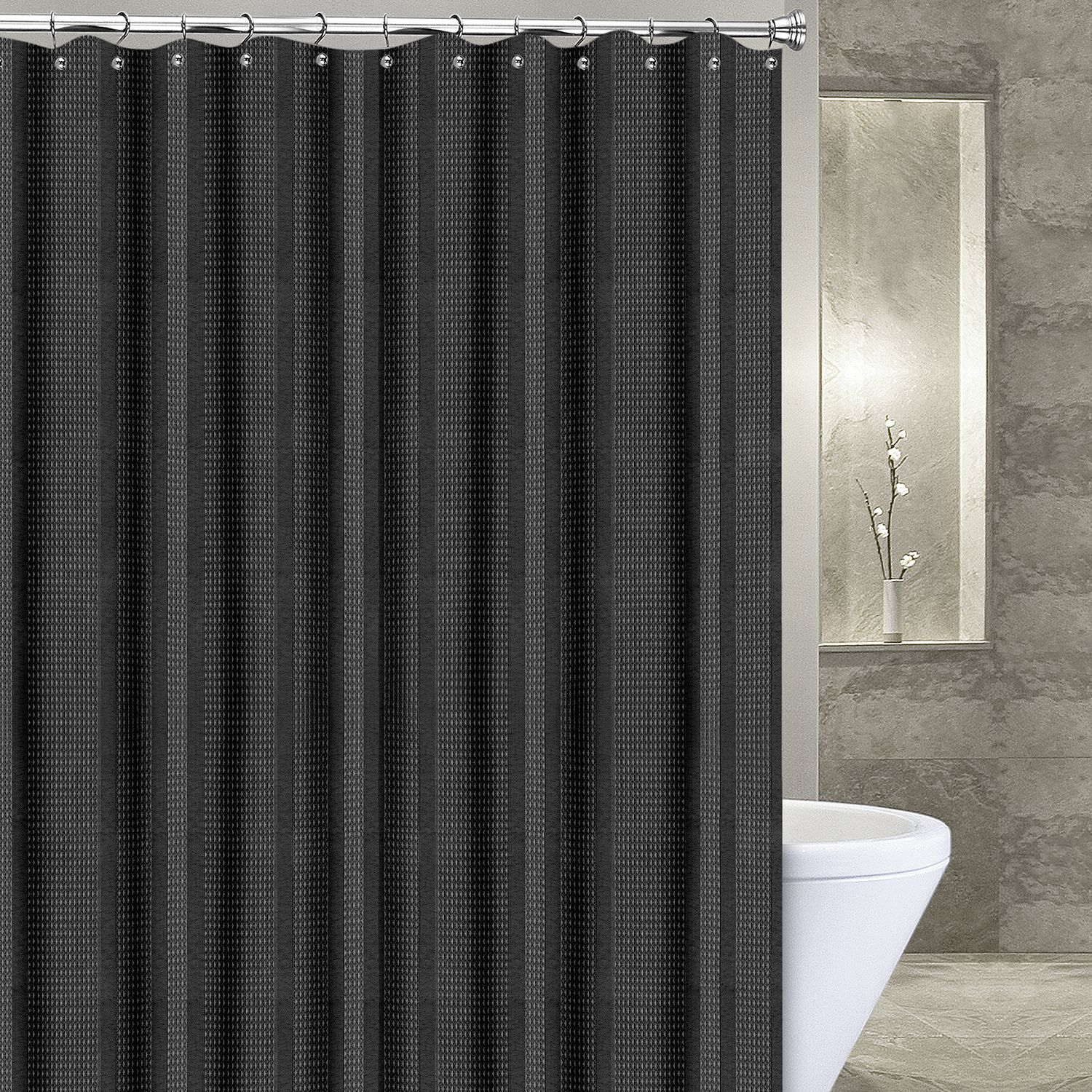 Amazing Popular Bath Waffle Stripe Fabric Shower Curtain. Mocha Black White Ivory