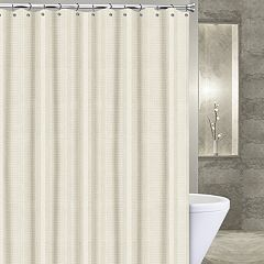 Popular Bath Waffle Stripe Fabric Shower Curtain