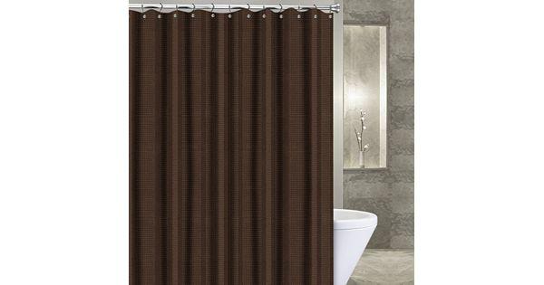 Coffee Espresso Latte Cafe Ivory Brown Kitchen Curtains: Popular Bath Waffle Stripe Fabric Shower Curtain