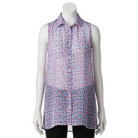 Juniors' Candie's® Sleeveless Button-Down Tunic Top