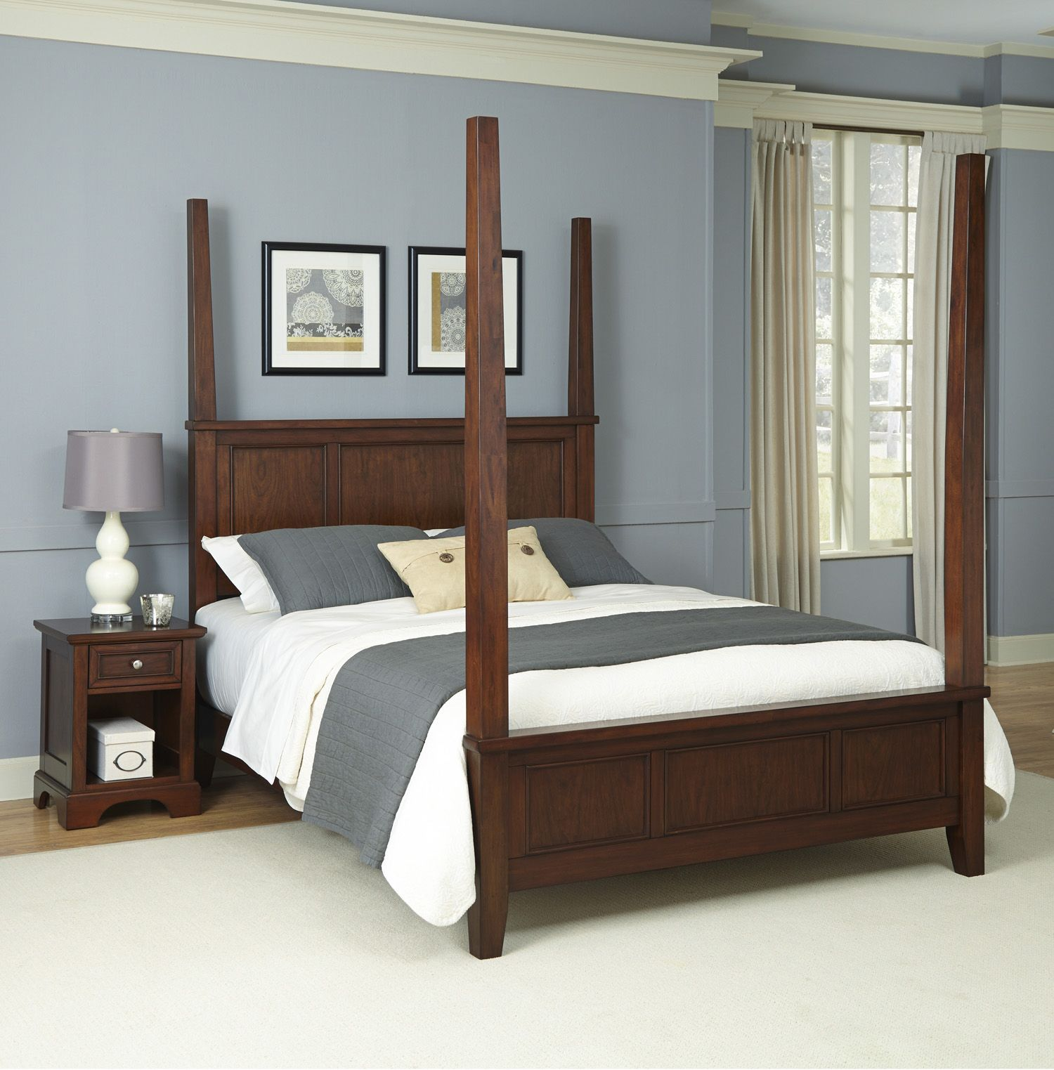 Spectacular Home Styles piece Poster Bed and Nightstand Set