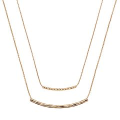 LC Lauren Conrad Curved Bar Link Double Strand Necklace